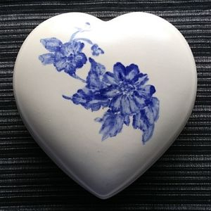 Heart Shaped Ceramic Box Hand Painted Signed